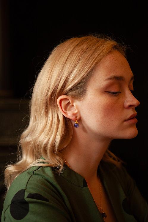 Tiny bluebell pendulum drop stud earrings