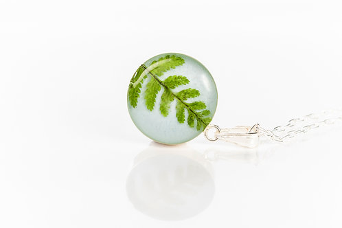 Pressed fern flat sterling silver necklace