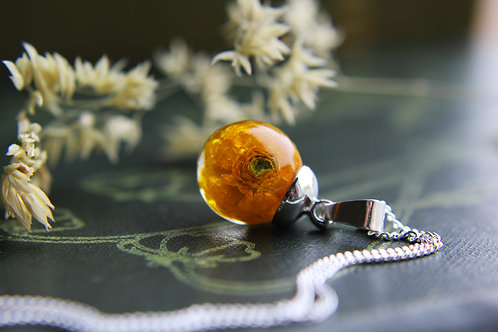 Ukrainian tiny ranunculus sterling silver necklace