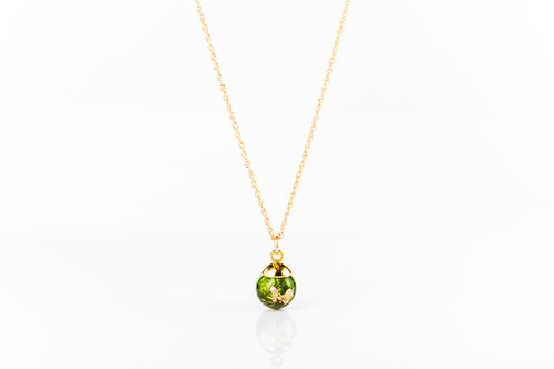 Tiny moss and gold, gold fill resin sphere necklace