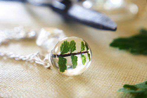 Fern resin sphere sterling silver necklace