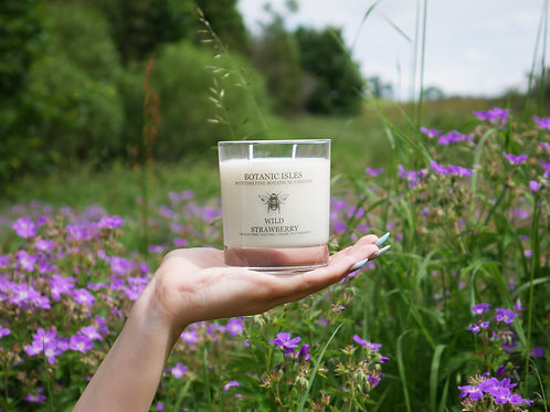 Wild strawberry double wick glass candle