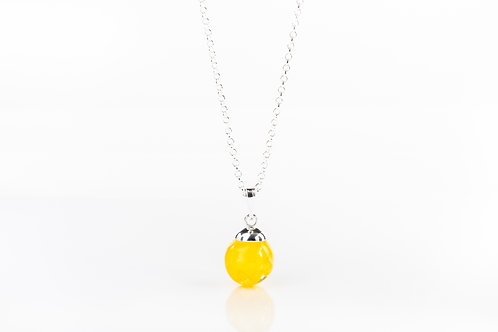 Daffodil petal sterling silver resin sphere necklace