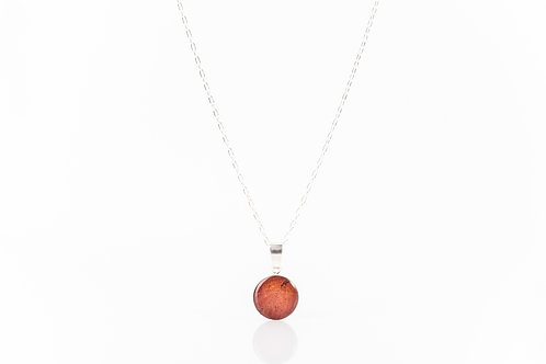 Wild strawberry leaf sterling resin necklace