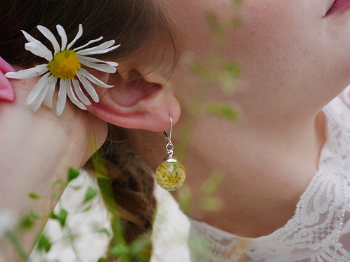 English elderflower sterling silver resin sphere earrings