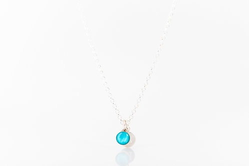 Tiny blue hydrangea sterling silver necklace