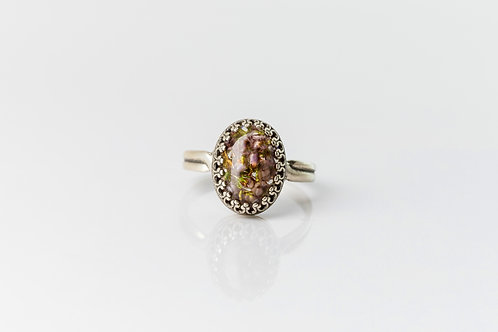 Heather buds antique silver adjustable ring