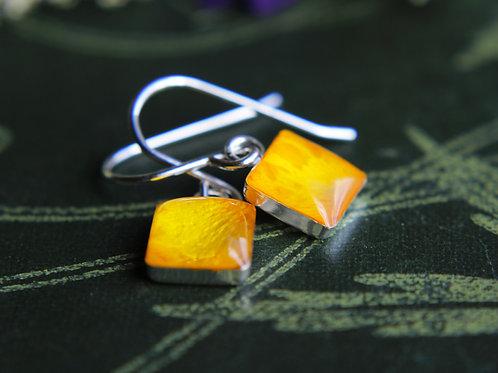 Pressed buttercup petal sterling silver drop earrings