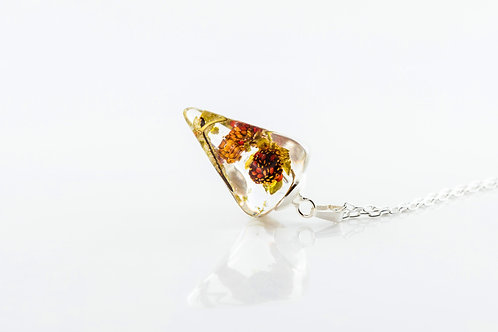 Wild strawberry faceted droplet sterling silver resin necklace