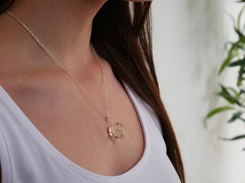 Dandelion seed sterling silver resin pendulum necklace
