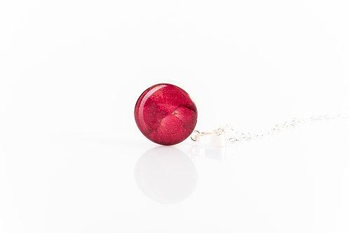 Rose petal sterling silver resin necklace