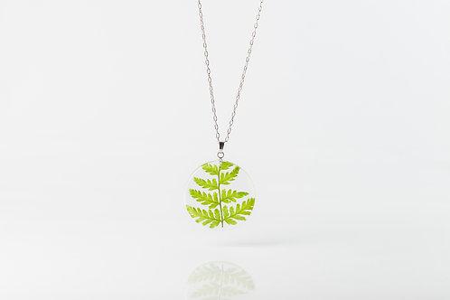 Fern resin disk necklace