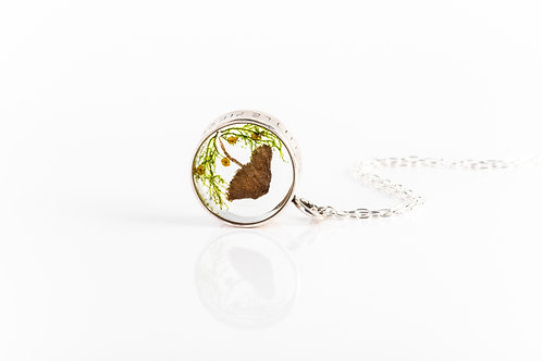 Wild mushroom, fennel and moss engraved open locket necklace