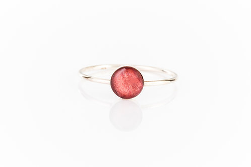 Wild strawberry leaf sterling silver resin stacking ring