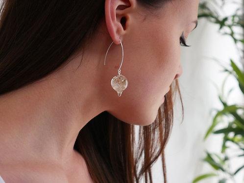 Dandelion seed sterling silver resin pendulum threader earrings