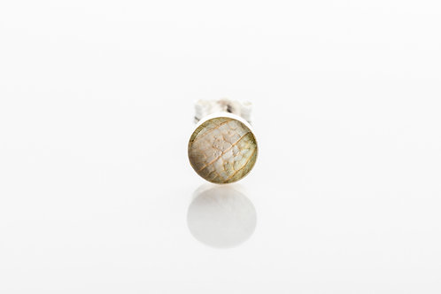 Men's pale green botanical resin 925 sterling silver stud earring