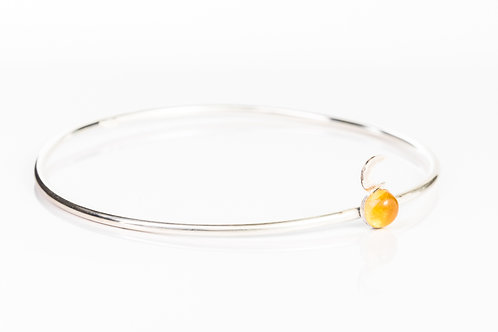 Citrine and moon sterling silver stacking bangle