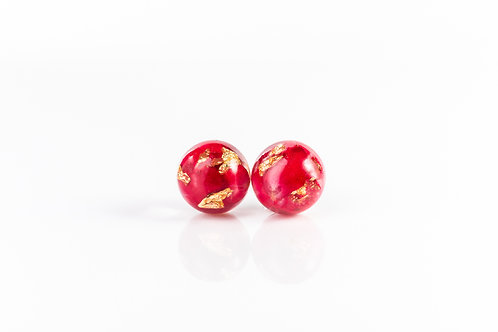 Rose petal and gold sterling silver resin stud earrings
