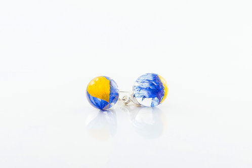 Buttercup petal and cornflower sterling silver resin sphere drop earrings