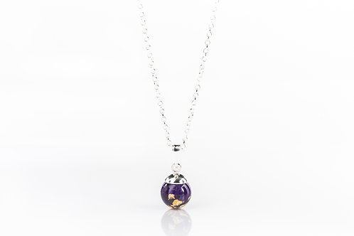 Crocus petal and gold sterling silver resin sphere necklace
