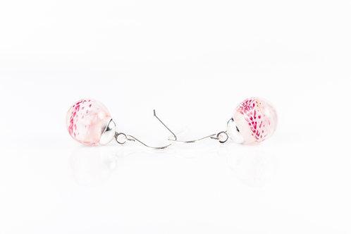 Azalea petal sterling silver resin sphere drop earrings