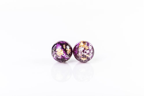 Foxglove and gold sterling silver resin studs