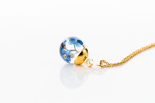Forget me not resin sphere gold fill necklace