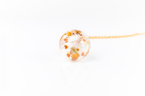Lucky white heather gold fill resin sphere necklace