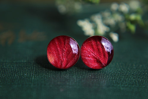 Wild strawberry leaf sterling silver stud earrings