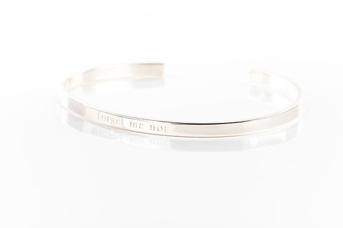 Forget me not engraved sterling silver bracelet cuff