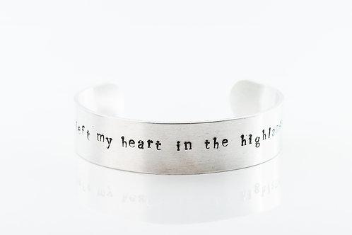 I left my heart in the Highlands aluminium bracelet