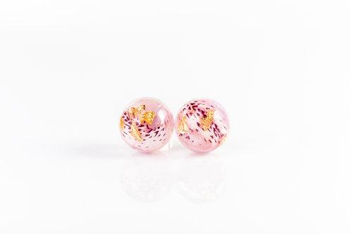 Azalea petal and gold sterling silver resin stud earrings