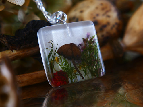 Wild mushroom, heather, wild strawberries and moss sterling silver pendant