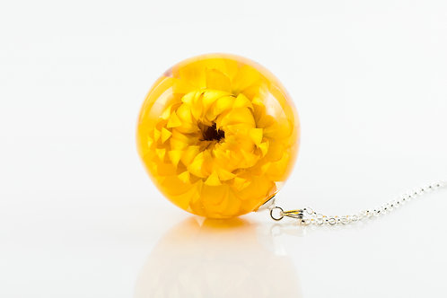 Golden helichrysum 925 sterling silver resin sphere necklace