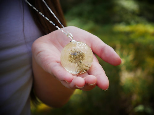 Scottish dandelion clock 925 sterling silver resin sphere necklace