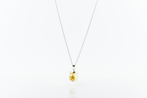 Camomile resin cube sterling silver necklace