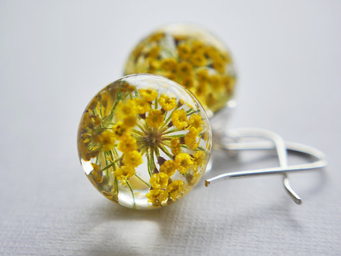 Fennel pollen sterling silver resin sphere drop earrings