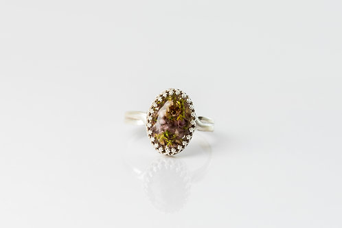 Heather bud sterling silver adjustable ring