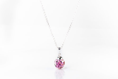 Scottish heather sterling silver resin sphere necklace