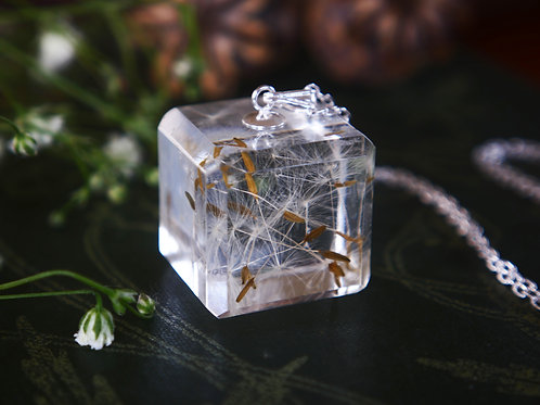 Dandelion seed cube 925 sterling silver necklace
