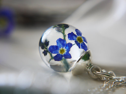 Forget me not sterling silver necklace