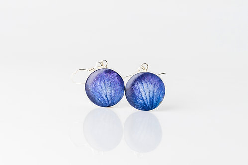 Pressed blue hydrangea sterling silver resin earrings
