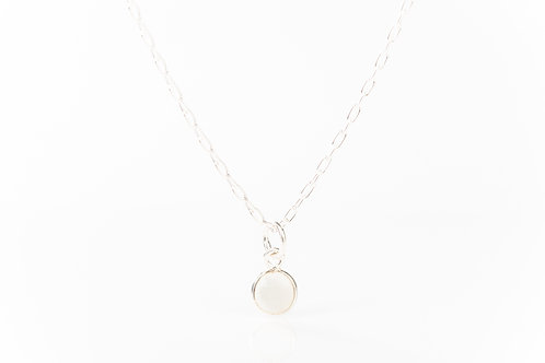 Tiny moonstone sterling silver precious gemstone necklace