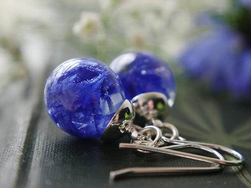 Cornflower petal sterling silver drop earrings