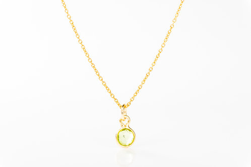 Tiny peridot gold fill precious gemstone necklace