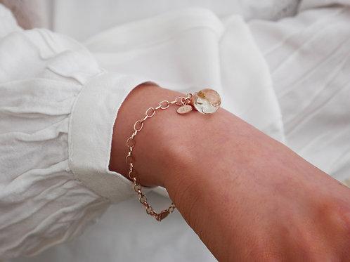 Dandelion seed rose gold plated sterling silver bracelet