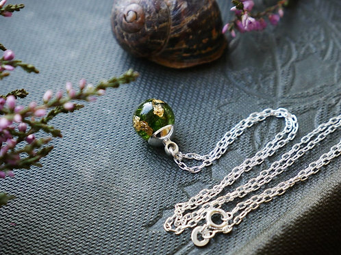 Moss & gold sterling silver resin sphere necklace