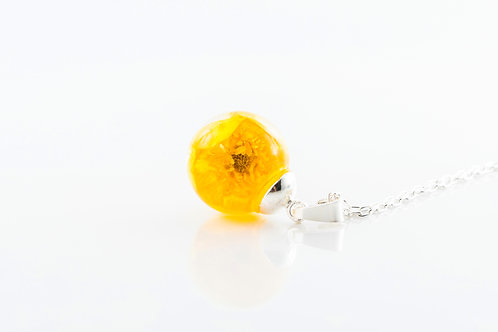Buttercup resin sphere sterling silver necklace