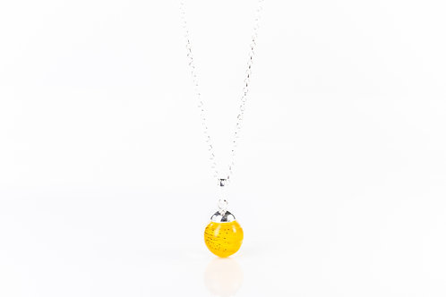 Lily petal sterling silver resin sphere necklace