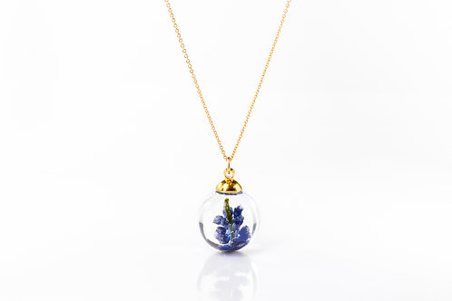 Grape hyacinth gold fill resin sphere necklace